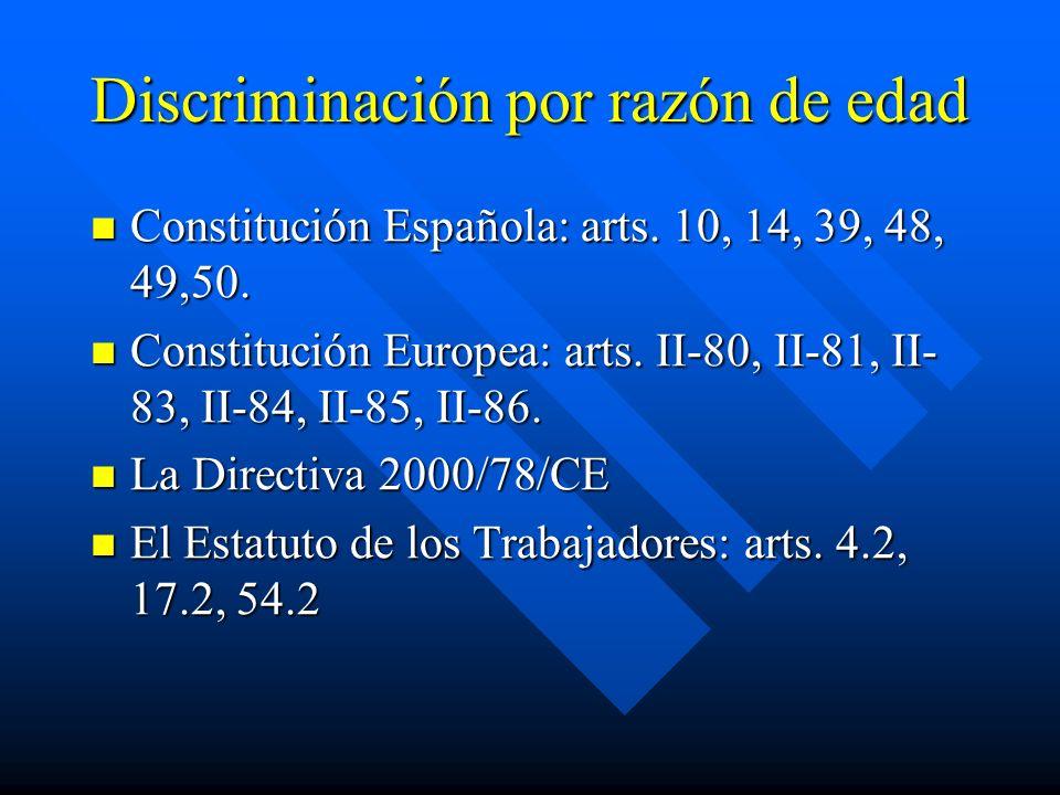 Discriminación por razón de edad Constitución Española: arts. 10, 14, 39, 48, 49,50. Constitución Española: arts. 10, 14, 39, 48, 49,50. Constitución