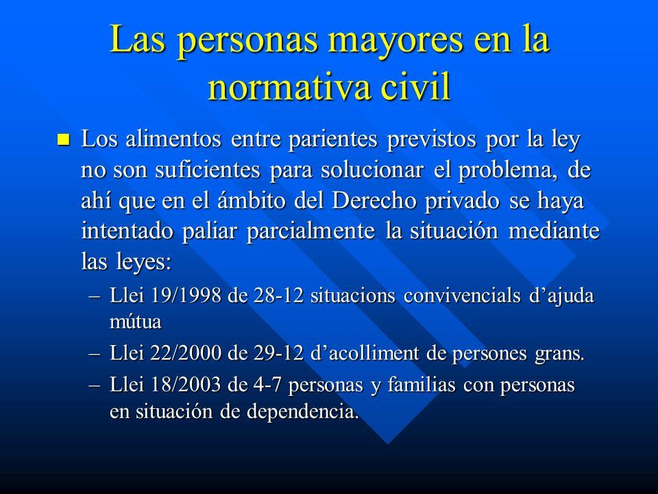 Las personas mayores en la normativa civil Los alimentos entre parientes previstos por la ley no son suficientes para solucionar el problema, de ahí q