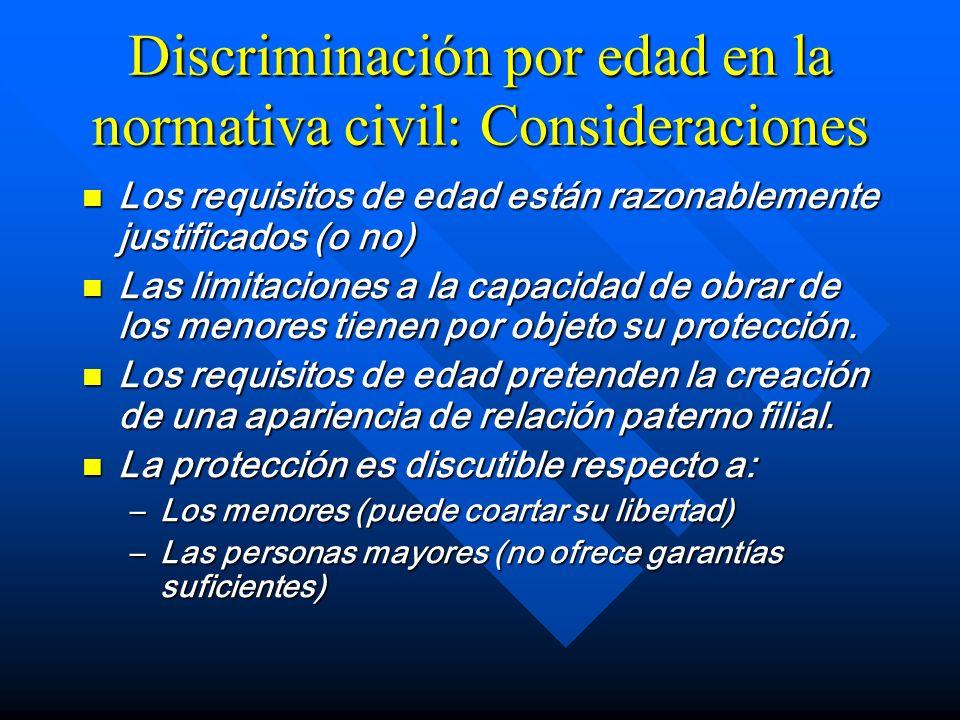 Discriminación por edad en la normativa civil: Consideraciones Los requisitos de edad están razonablemente justificados (o no) Los requisitos de edad