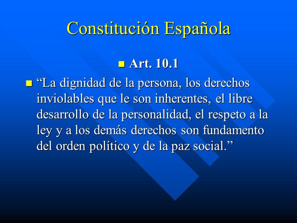 Constitución Española Art. 10.1 Art. 10.1 La dignidad de la persona, los derechos inviolables que le son inherentes, el libre desarrollo de la persona