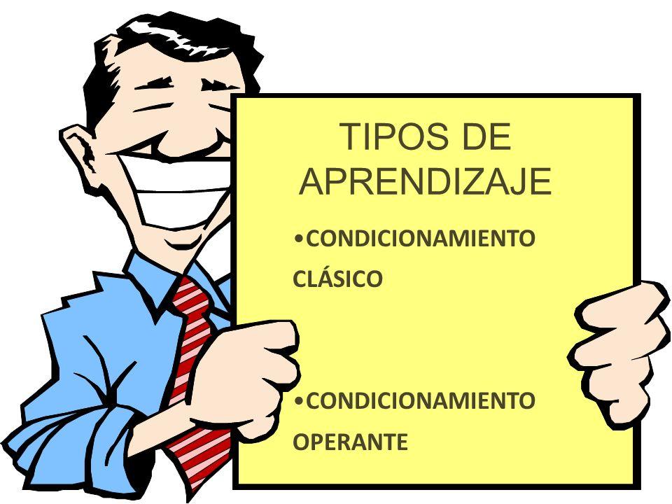 TIPOS DE APRENDIZAJE CONDICIONAMIENTO CLÁSICO CONDICIONAMIENTO OPERANTE
