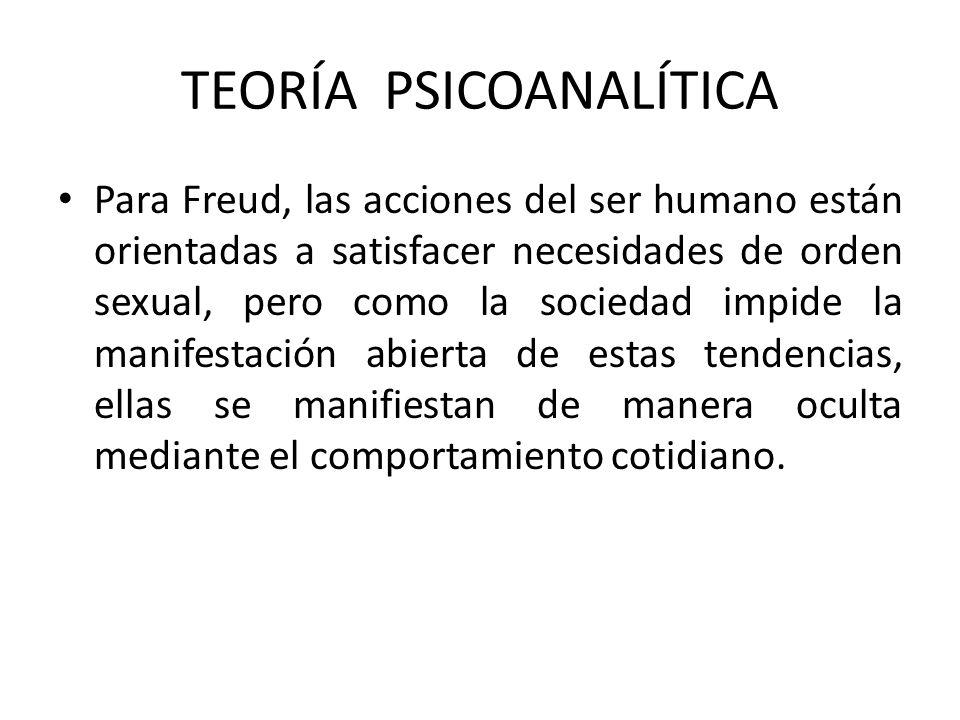 Para Freud, las acciones del ser humano están orientadas a satisfacer necesidades de orden sexual, pero como la sociedad impide la manifestación abier
