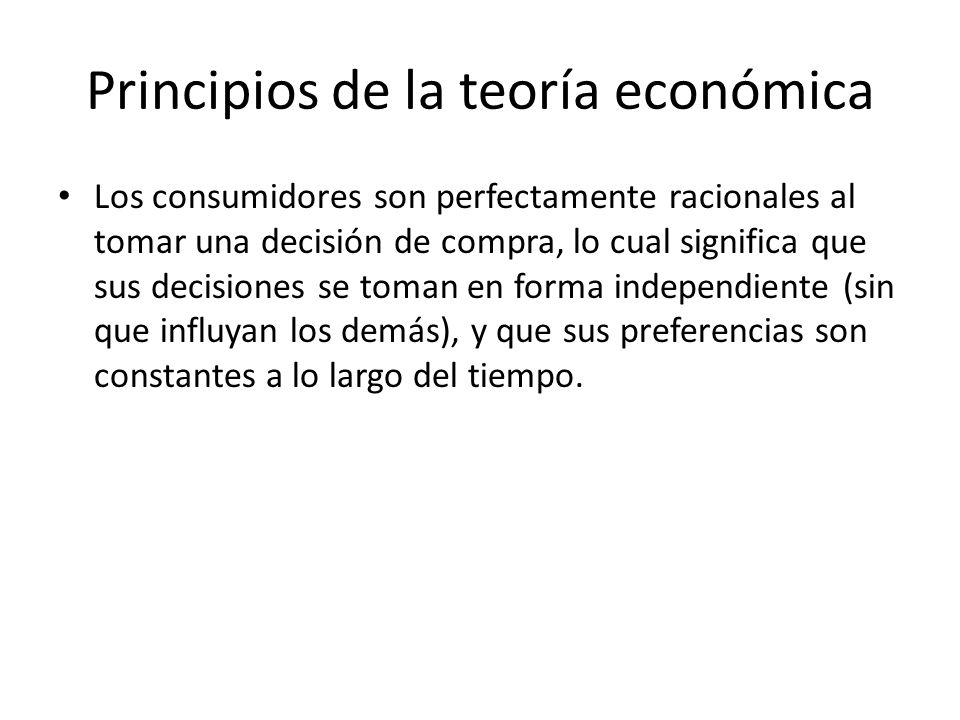 Los consumidores son perfectamente racionales al tomar una decisión de compra, lo cual significa que sus decisiones se toman en forma independiente (s