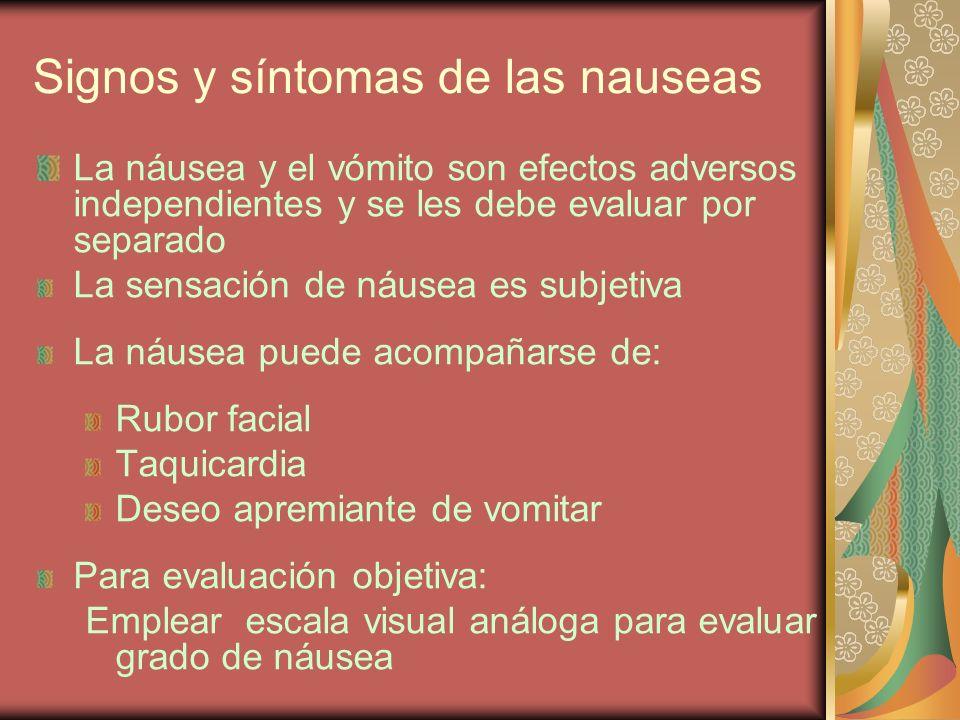 Signos y síntomas de las nauseas La náusea y el vómito son efectos adversos independientes y se les debe evaluar por separado La sensación de náusea e