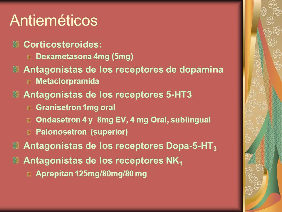 Antieméticos Corticosteroides: Dexametasona 4mg (5mg) Antagonistas de los receptores de dopamina Metaclorpramida Antagonistas de los receptores 5-HT3