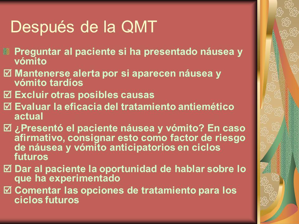 Después de la QMT Preguntar al paciente si ha presentado náusea y vómito Mantenerse alerta por si aparecen náusea y vómito tardíos Excluir otras posib