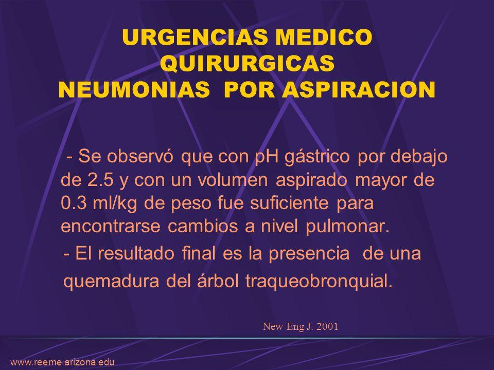 www.reeme.arizona.edu URGENCIAS MEDICO QUIRURGICAS NEUMONIAS POR ASPIRACION - Se observó que con pH gástrico por debajo de 2.5 y con un volumen aspira