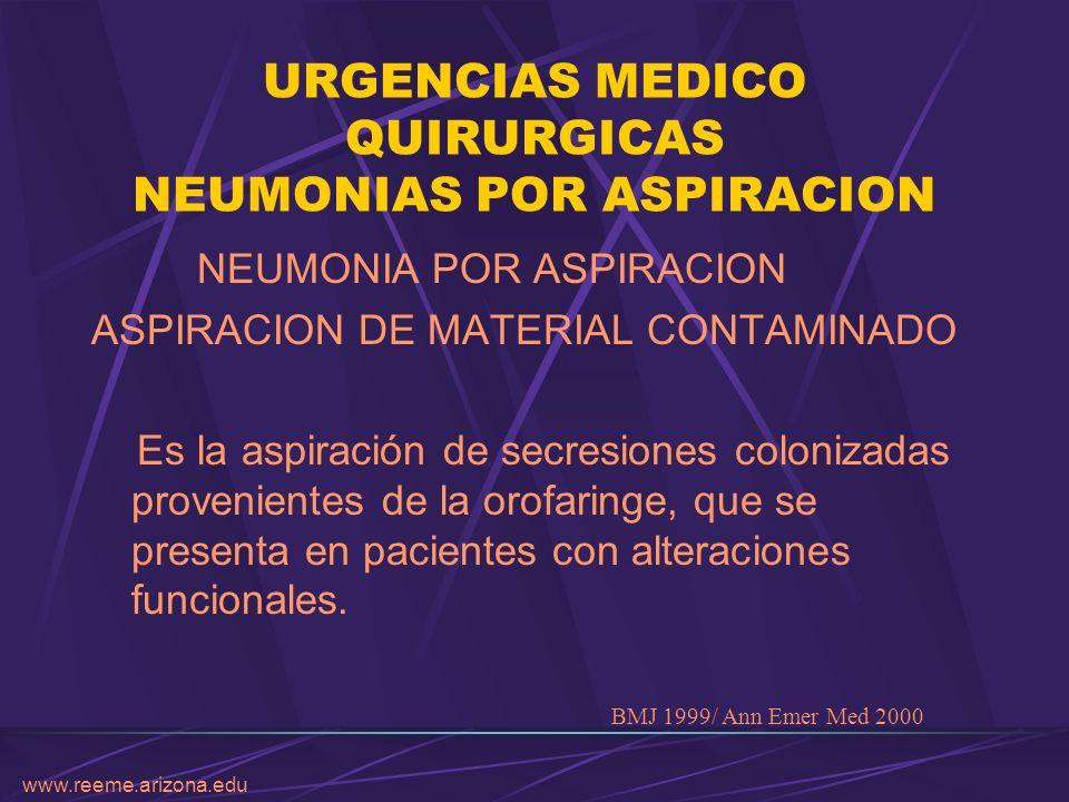 URGENCIAS MEDICO QUIRURGICAS NEUMONIAS POR ASPIRACION NEUMONIA POR ASPIRACION ASPIRACION DE MATERIAL CONTAMINADO Es la aspiración de secresiones colon