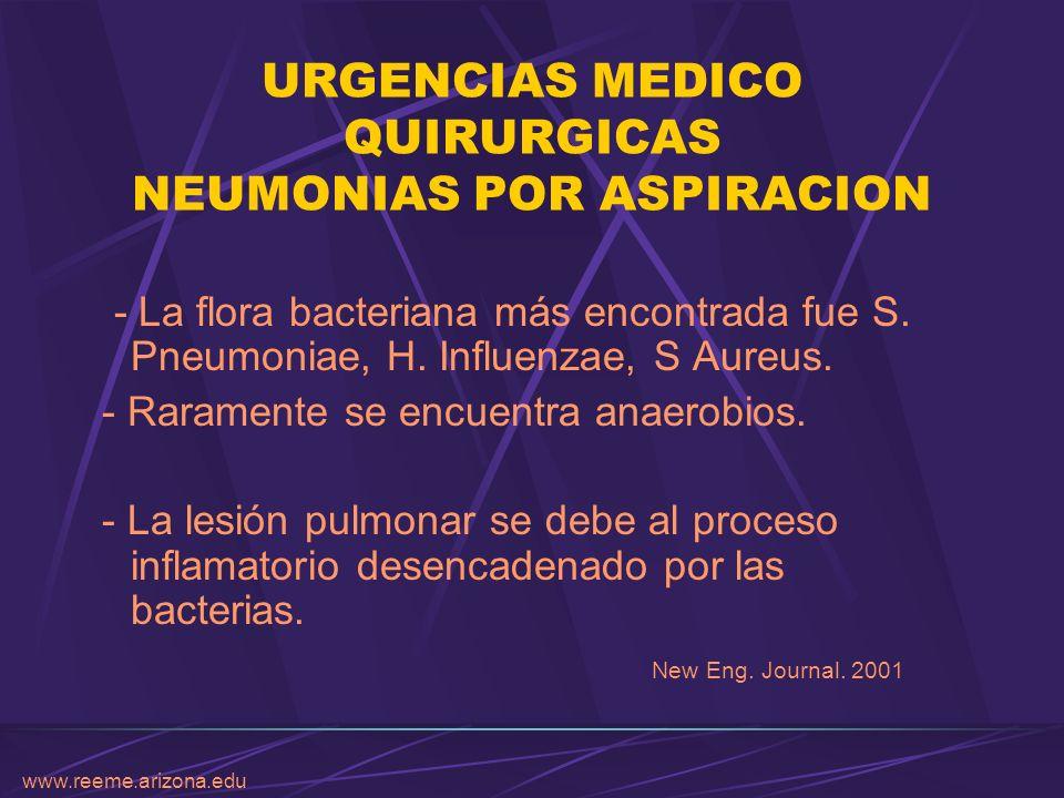 www.reeme.arizona.edu URGENCIAS MEDICO QUIRURGICAS NEUMONIAS POR ASPIRACION - La flora bacteriana más encontrada fue S. Pneumoniae, H. Influenzae, S A