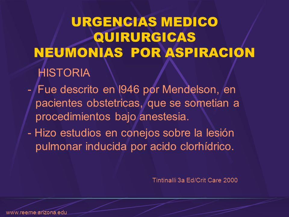 www.reeme.arizona.edu URGENCIAS MEDICO QUIRURGICAS NEUMONIAS POR ASPIRACION TRATAMIENTO Levofloxacino 1-2 gr/día Ciprofloxacino 400 mg c/12 hrs Ceftazidima 2 gr c/8 hrs Piperacilina-Tazobactam o Imipenem New Eng J 2001