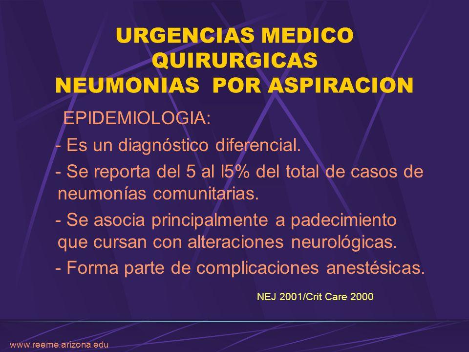 www.reeme.arizona.edu URGENCIAS MEDICO QUIRURGICAS NEUMONIAS POR ASPIRACION EPIDEMIOLOGIA: - Es un diagnóstico diferencial. - Se reporta del 5 al l5%