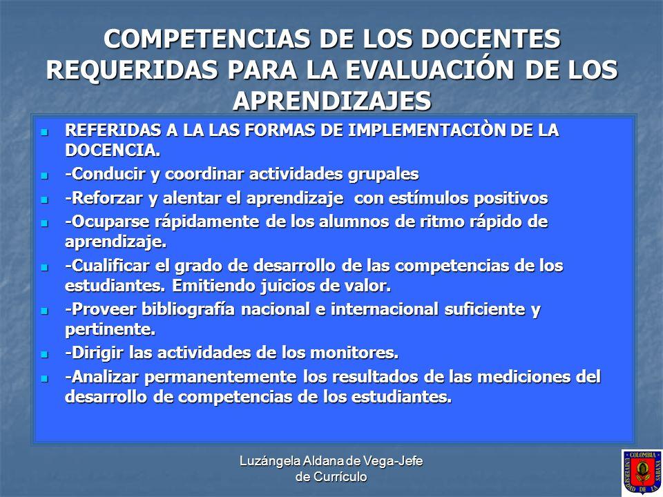 Luzángela Aldana de Vega-Jefe de Currículo COMPETENCIAS DE LOS DOCENTES REQUERIDAS PARA LA EVALUACIÓN DE LOS APRENDIZAJES REFERIDAS A LA LAS FORMAS DE