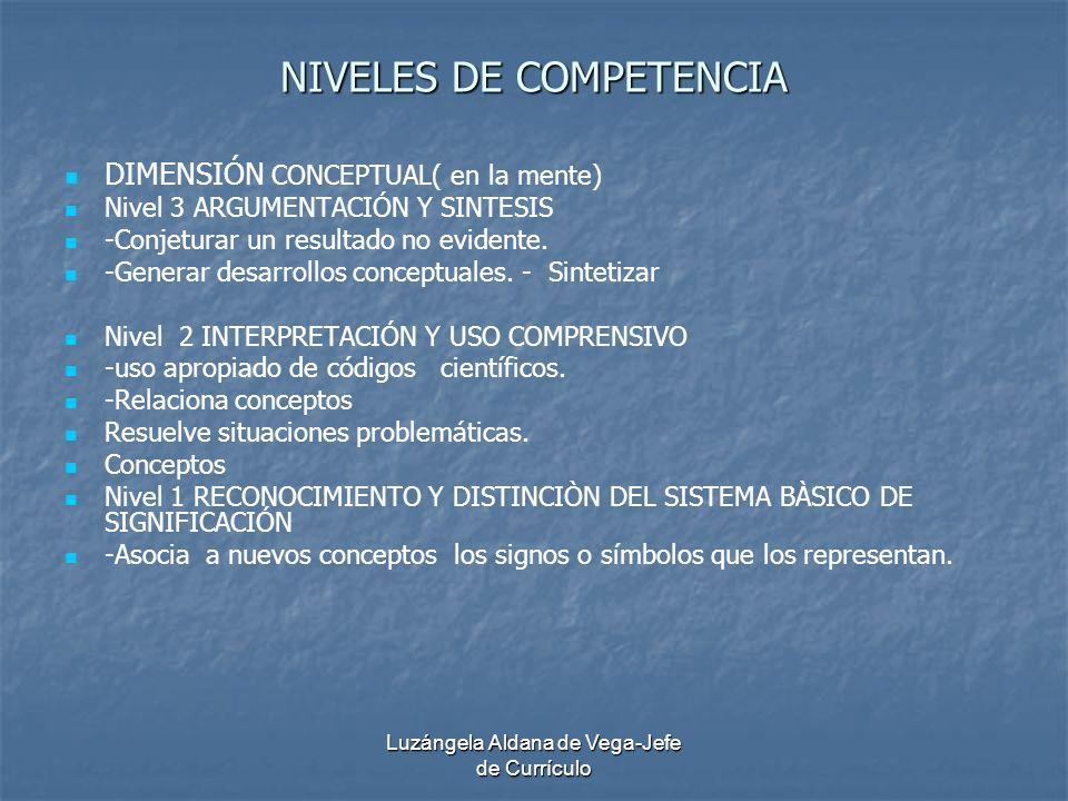 Luzángela Aldana de Vega-Jefe de Currículo NIVELES DE COMPETENCIA DIMENSIÓN CONCEPTUAL( en la mente) Nivel 3 ARGUMENTACIÓN Y SINTESIS -Conjeturar un r