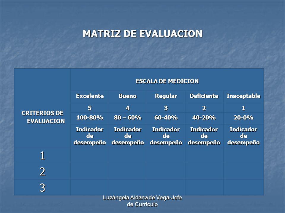 Luzángela Aldana de Vega-Jefe de Currículo MATRIZ DE EVALUACION CRITERIOS DE EVALUACION EVALUACION ESCALA DE MEDICION ExcelenteBuenoRegularDeficienteI
