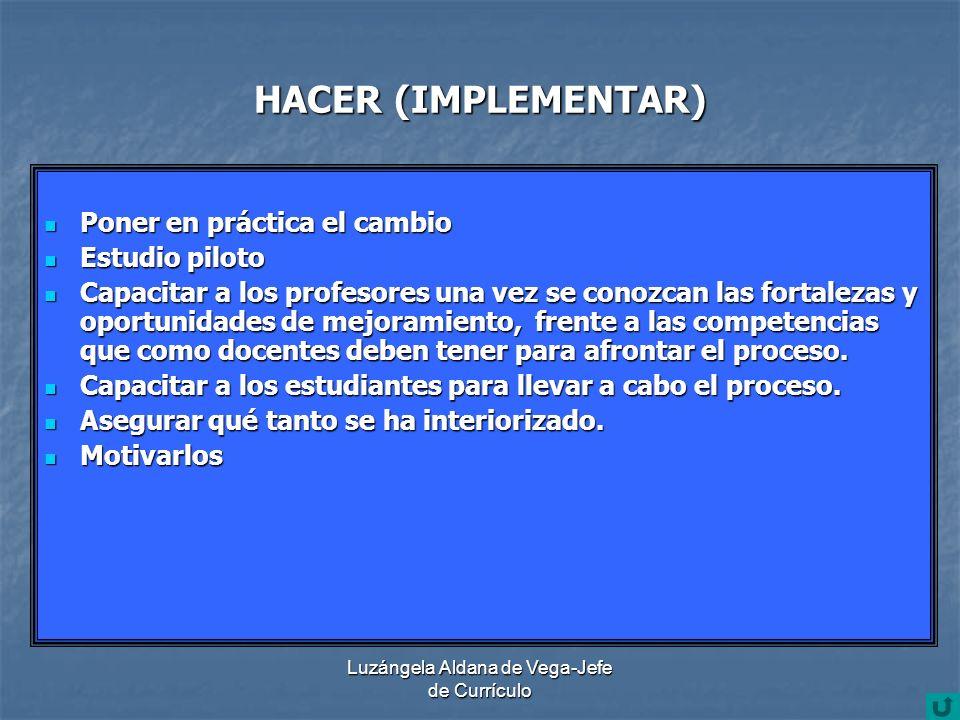 Luzángela Aldana de Vega-Jefe de Currículo HACER (IMPLEMENTAR) Poner en práctica el cambio Poner en práctica el cambio Estudio piloto Estudio piloto C