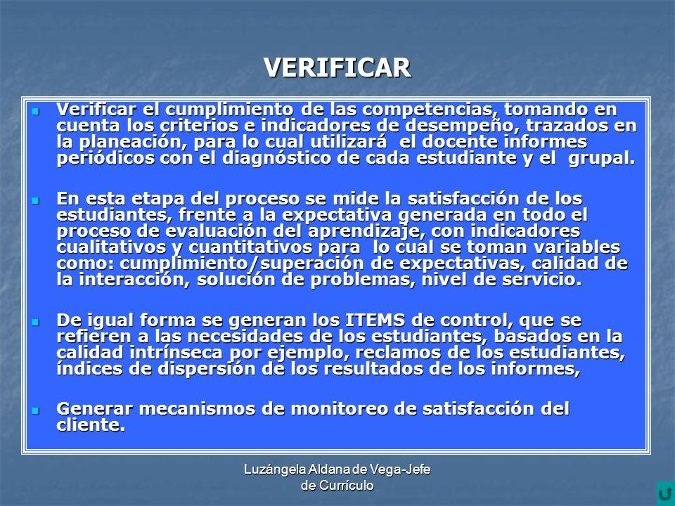 Luzángela Aldana de Vega-Jefe de Currículo VERIFICAR Verificar el cumplimiento de las competencias, tomando en cuenta los criterios e indicadores de d