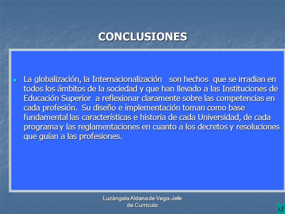 Luzángela Aldana de Vega-Jefe de Currículo CONCLUSIONES La globalización, la Internacionalización son hechos que se irradian en todos los ámbitos de l