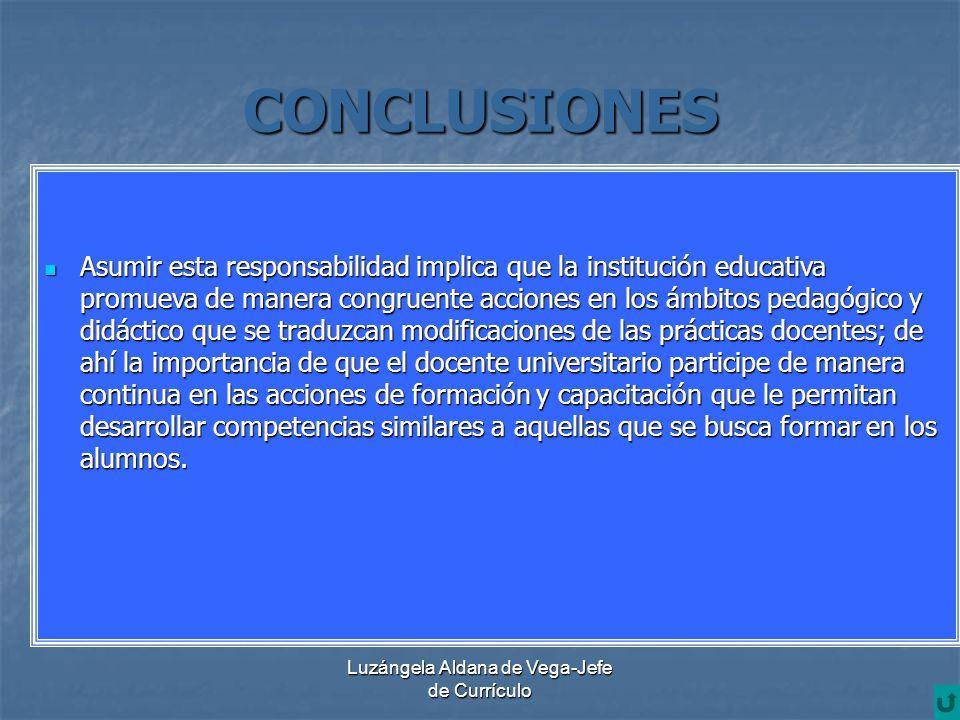 Luzángela Aldana de Vega-Jefe de Currículo CONCLUSIONES Asumir esta responsabilidad implica que la institución educativa promueva de manera congruente