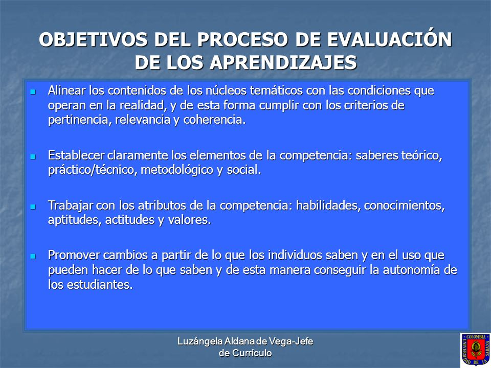 Luzángela Aldana de Vega-Jefe de Currículo OBJETIVOS DEL PROCESO DE EVALUACIÓN DE LOS APRENDIZAJES Alinear los contenidos de los núcleos temáticos con