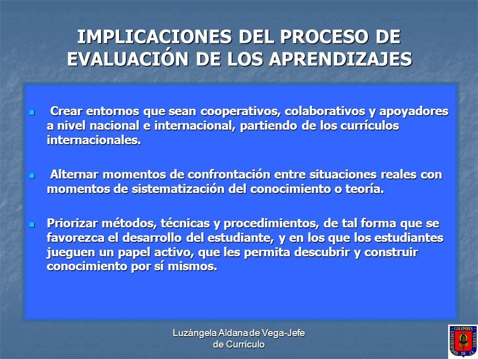 Luzángela Aldana de Vega-Jefe de Currículo IMPLICACIONES DEL PROCESO DE EVALUACIÓN DE LOS APRENDIZAJES Crear entornos que sean cooperativos, colaborat