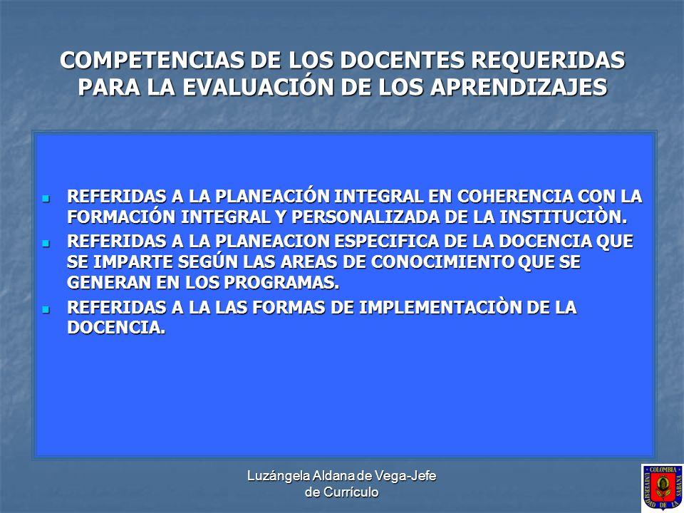 Luzángela Aldana de Vega-Jefe de Currículo COMPETENCIAS DE LOS DOCENTES REQUERIDAS PARA LA EVALUACIÓN DE LOS APRENDIZAJES REFERIDAS A LA VERIFICACIÓN DEL AVANCE DE LAS COMPETENCIAS PROPUESTAS POR AREAS DE CONOCIMIENTO Y POR SEMESTRES DE DESARROLLO DE LA PROFESIÒN.