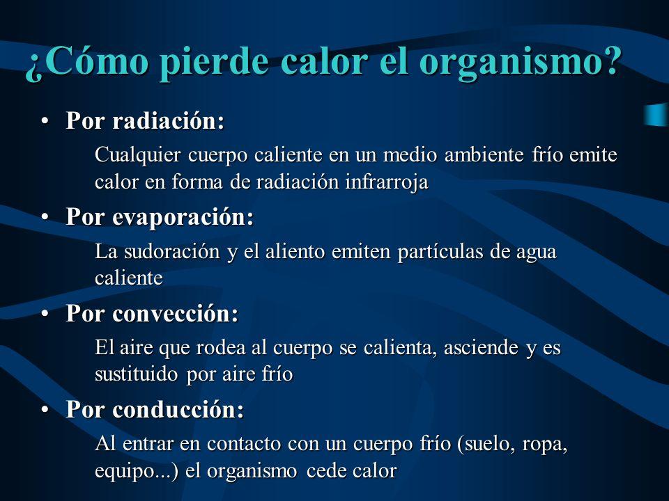 ¿Cómo pierde calor el organismo? Por radiación:Por radiación: Cualquier cuerpo caliente en un medio ambiente frío emite calor en forma de radiación in