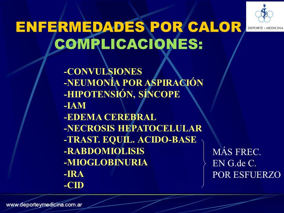 www.deporteymedicina.com.ar ENFERMEDADES POR CALOR COMPLICACIONES: -CONVULSIONES -NEUMONÍA POR ASPIRACIÓN -HIPOTENSIÓN, SÍNCOPE -IAM -EDEMA CEREBRAL -NECROSIS HEPATOCELULAR -TRAST.
