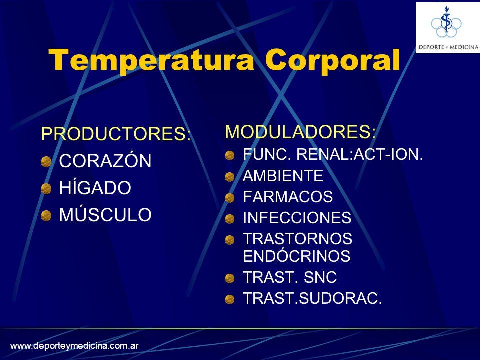 www.deporteymedicina.com.ar Temperatura Corporal PRODUCTORES: CORAZÓN HÍGADO MÚSCULO MODULADORES: FUNC.
