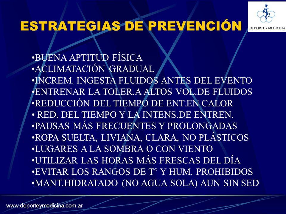 www.deporteymedicina.com.ar ESTRATEGIAS DE PREVENCIÓN BUENA APTITUD FÍSICA ACLIMATACIÓN GRADUAL INCREM.