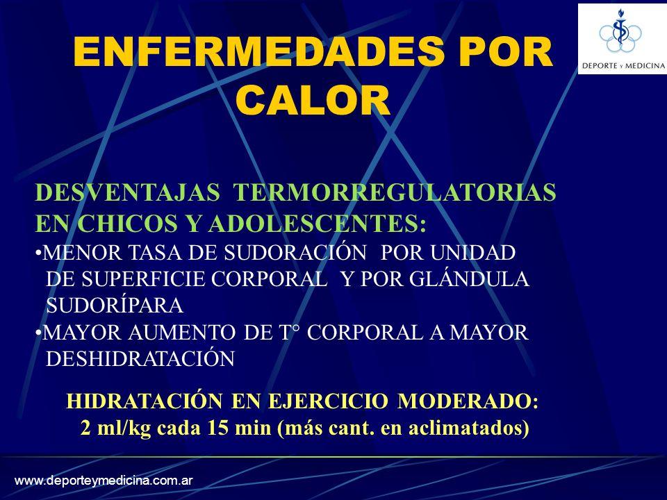 www.deporteymedicina.com.ar ENFERMEDADES POR CALOR DESVENTAJAS TERMORREGULATORIAS EN CHICOS Y ADOLESCENTES: MENOR TASA DE SUDORACIÓN POR UNIDAD DE SUPERFICIE CORPORAL Y POR GLÁNDULA SUDORÍPARA MAYOR AUMENTO DE T° CORPORAL A MAYOR DESHIDRATACIÓN HIDRATACIÓN EN EJERCICIO MODERADO: 2 ml/kg cada 15 min (más cant.