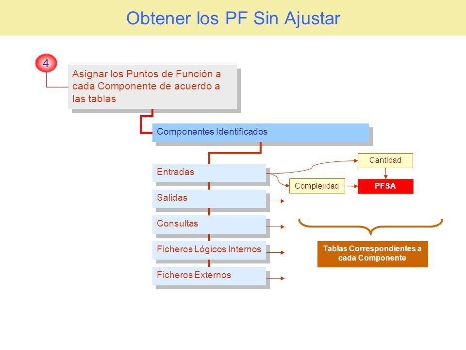 Obtener los PF Sin Ajustar Asignar los Puntos de Función a cada Componente de acuerdo a las tablas 4 Componentes Identificados Salidas Entradas Consul