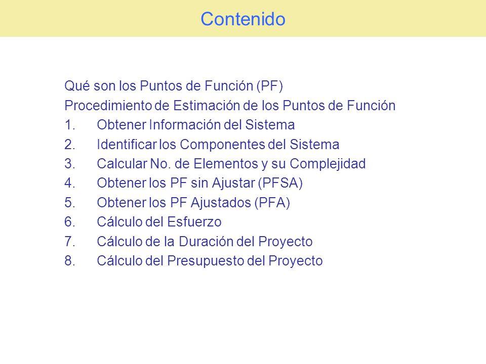 Contenido Qué son los Puntos de Función (PF) Procedimiento de Estimación de los Puntos de Función 1.Obtener Información del Sistema 2.Identificar los