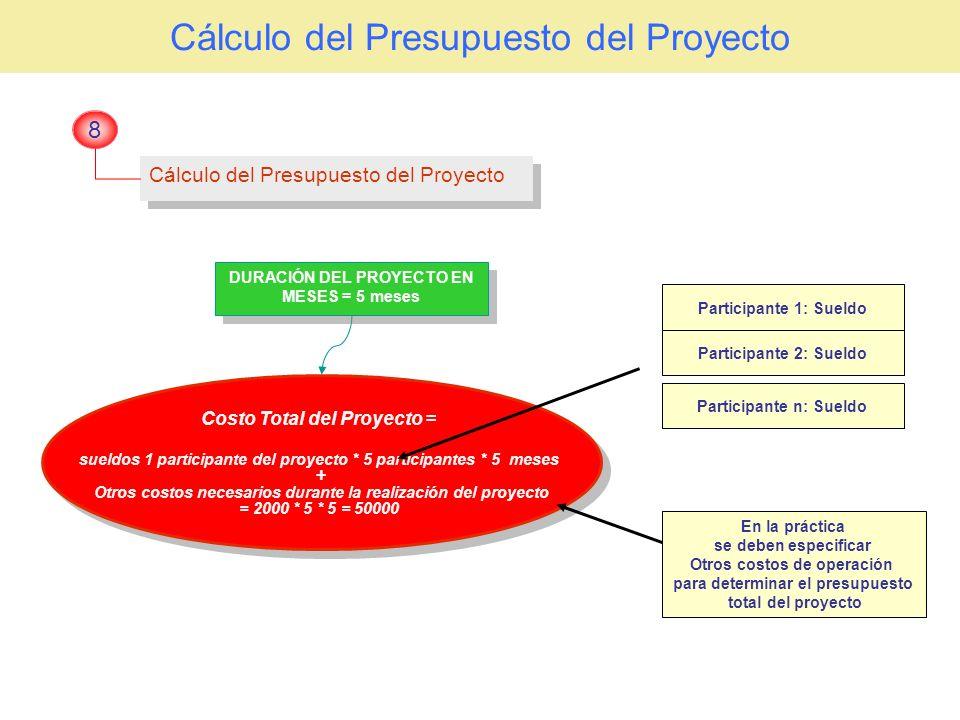 Cálculo del Presupuesto del Proyecto 8 Costo Total del Proyecto = sueldos 1 participante del proyecto * 5 participantes * 5 meses + Otros costos neces