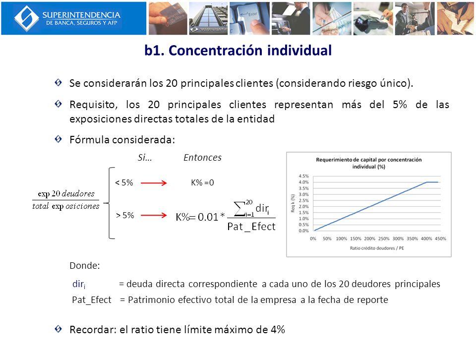 b1. Concentración individual Se considerarán los 20 principales clientes (considerando riesgo único). Requisito, los 20 principales clientes represent
