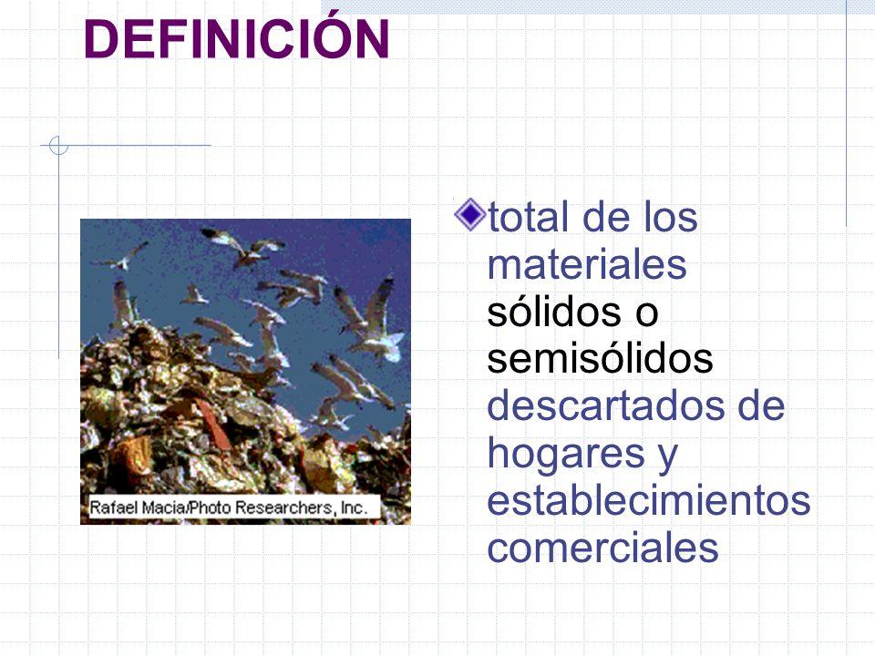 DEFINICIÓN total de los materiales sólidos o semisólidos descartados de hogares y establecimientos comerciales