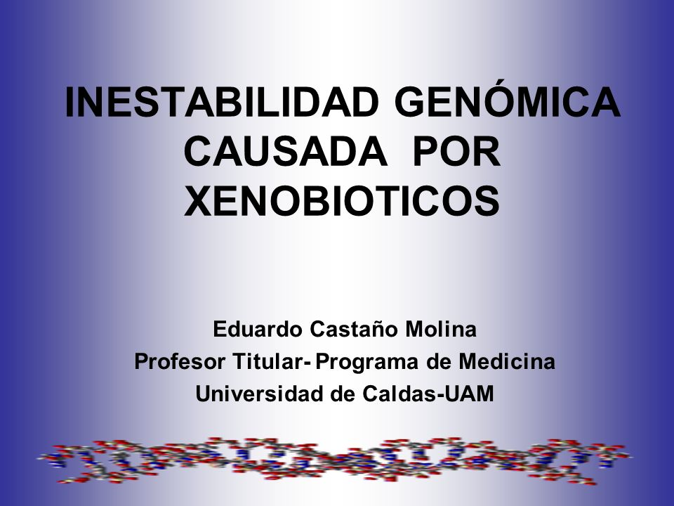 INESTABILIDAD GENÓMICA CAUSADA POR XENOBIOTICOS Eduardo Castaño Molina Profesor Titular- Programa de Medicina Universidad de Caldas-UAM