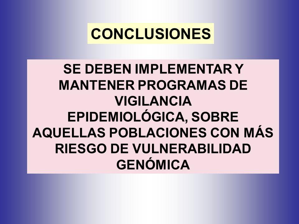SE DEBEN IMPLEMENTAR Y MANTENER PROGRAMAS DE VIGILANCIA EPIDEMIOLÓGICA, SOBRE AQUELLAS POBLACIONES CON MÁS RIESGO DE VULNERABILIDAD GENÓMICA CONCLUSIONES