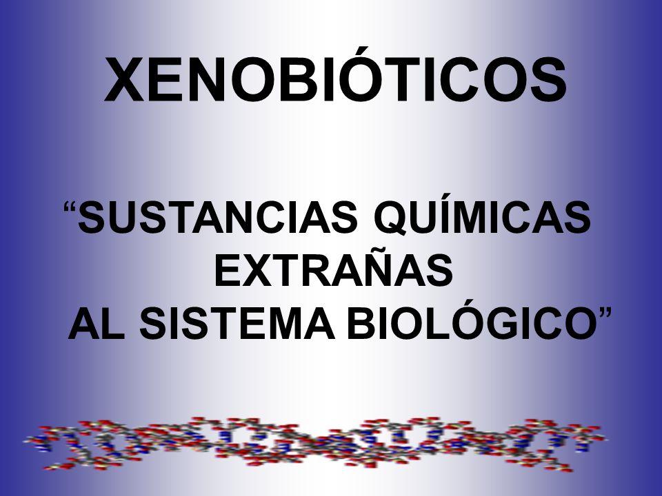 XENOBIÓTICOS SUSTANCIAS QUÍMICAS EXTRAÑAS AL SISTEMA BIOLÓGICO