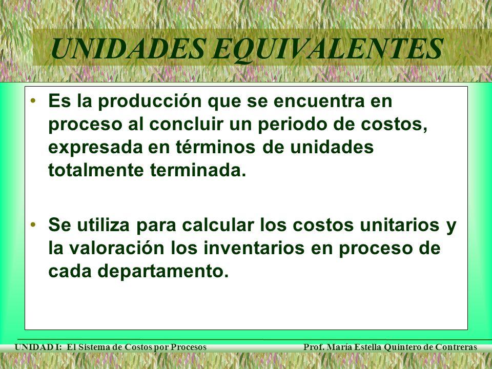 Prof. María Estella Quintero de Contreras UNIDAD I: El Sistema de Costos por Procesos Es la producción que se encuentra en proceso al concluir un peri