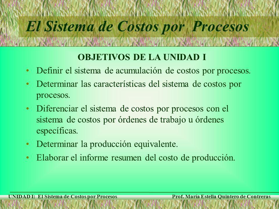 Prof. María Estella Quintero de Contreras UNIDAD I: El Sistema de Costos por Procesos OBJETIVOS DE LA UNIDAD I Definir el sistema de acumulación de co