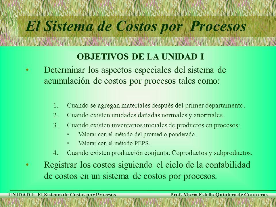 Prof. María Estella Quintero de Contreras UNIDAD I: El Sistema de Costos por Procesos El Sistema de Costos por Procesos OBJETIVOS DE LA UNIDAD I Deter