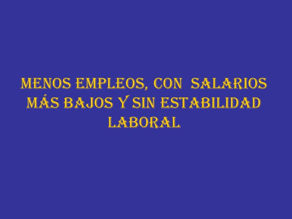 MENOS EMPLEOS, CON SALARIOS MÁS BAJOS Y SIN ESTABILIDAD LABORAL