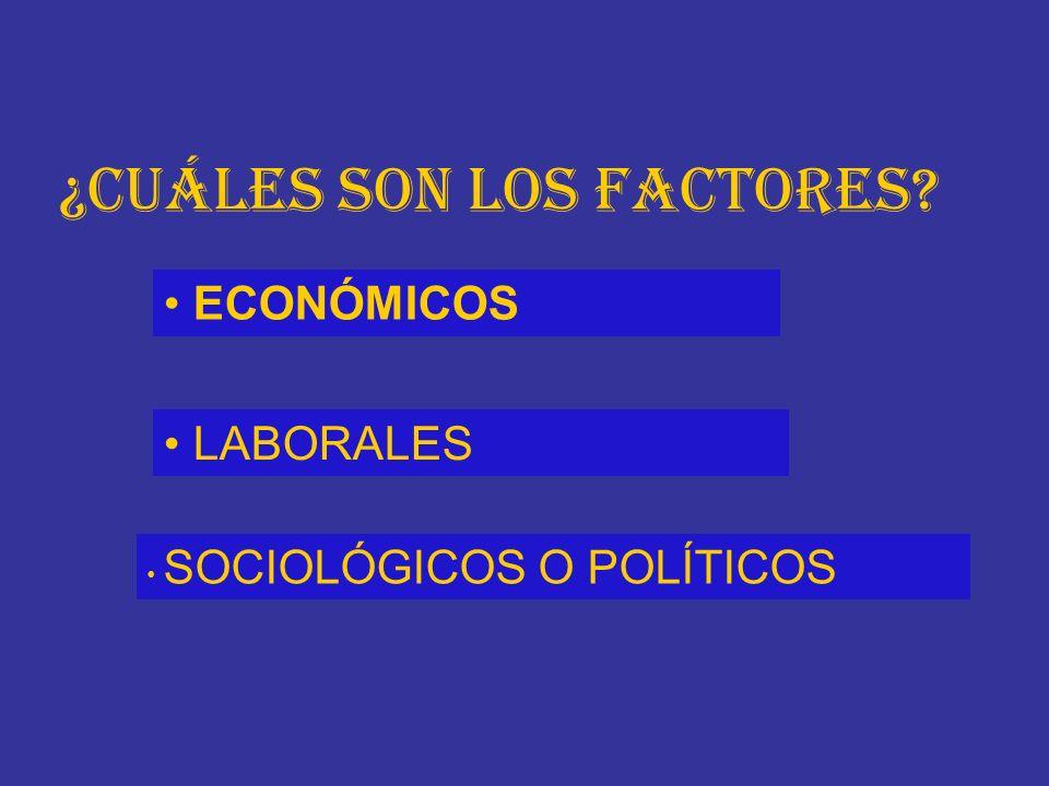 ¿Cuáles son los factores? ECONÓMICOS LABORALES SOCIOLÓGICOS O POLÍTICOS