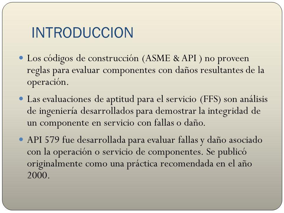 INTRODUCCION Los códigos de construcción (ASME & API ) no proveen reglas para evaluar componentes con daños resultantes de la operación.