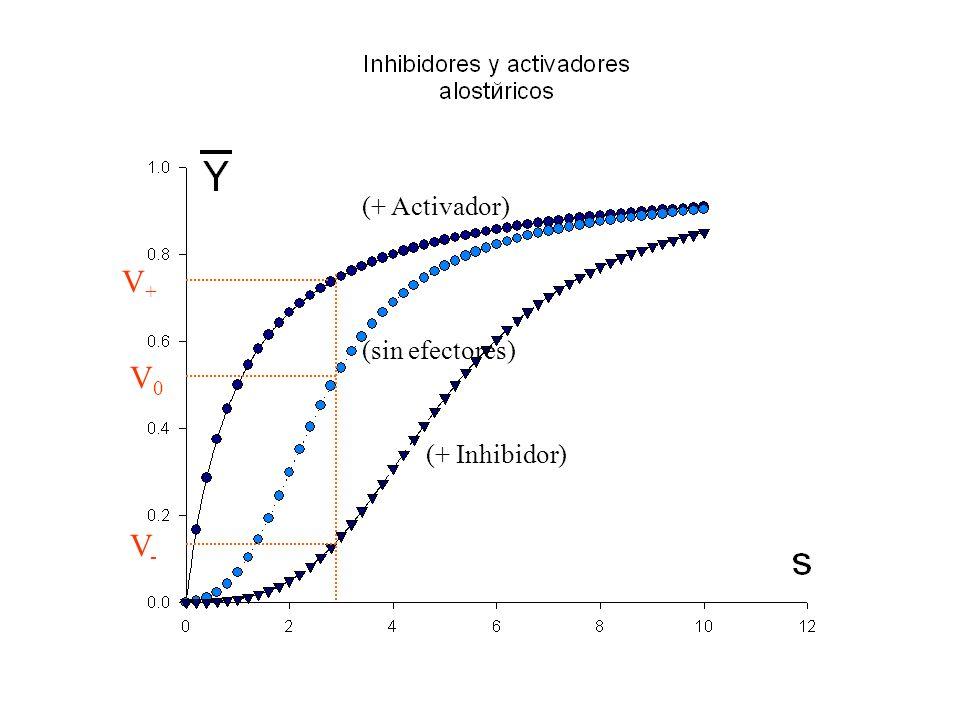 (+ Inhibidor) (+ Activador) (sin efectores) V+V+ V0V0 V-V-