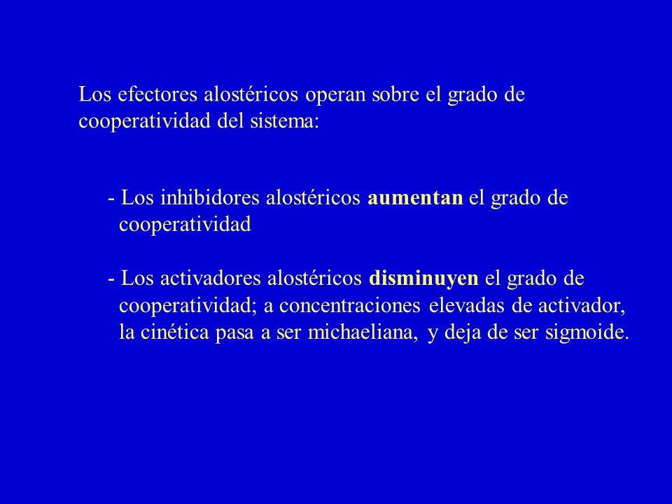 Los efectores alostéricos operan sobre el grado de cooperatividad del sistema: - Los inhibidores alostéricos aumentan el grado de cooperatividad - Los