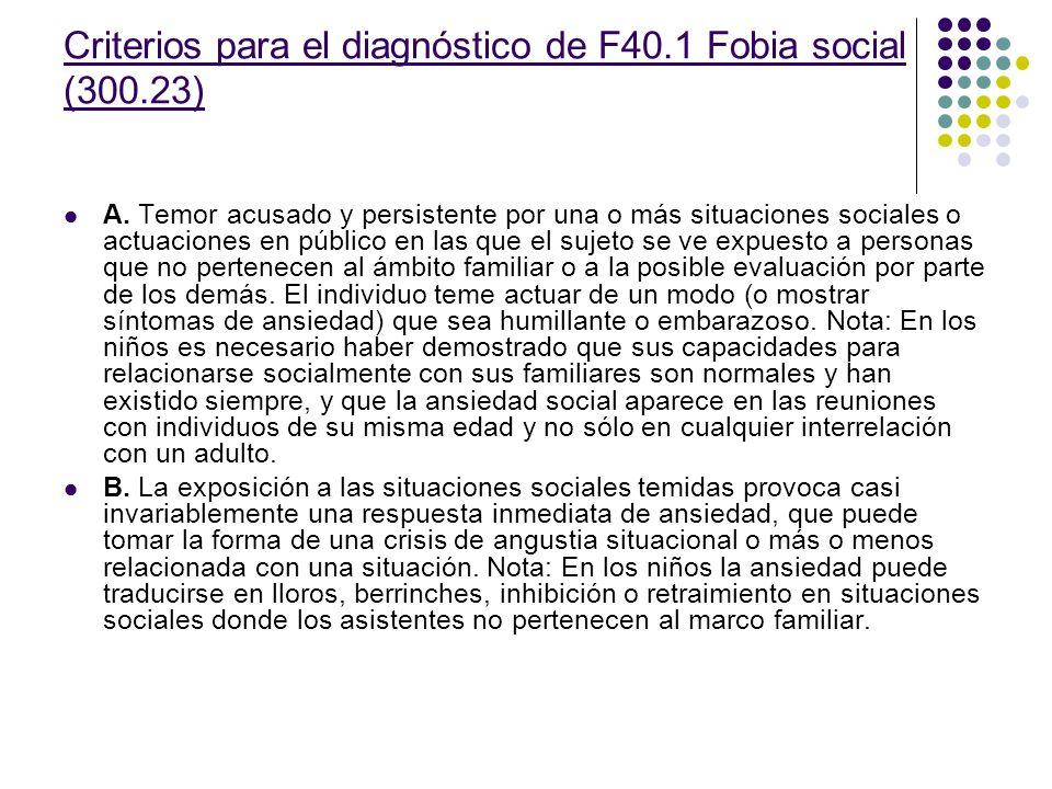 Criterios para el diagnóstico de F40.1 Fobia social (300.23) A.