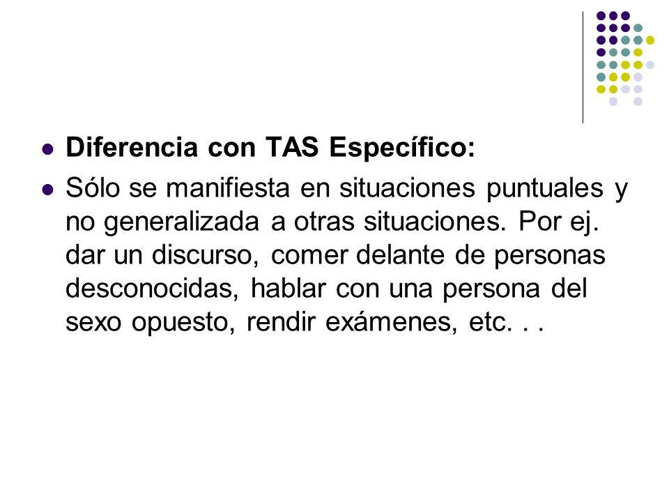 Diferencia con TAS Específico: Sólo se manifiesta en situaciones puntuales y no generalizada a otras situaciones.