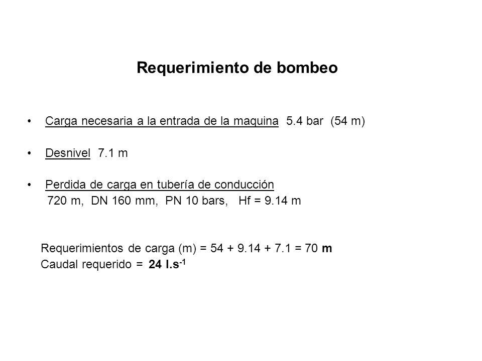 Requerimiento de bombeo Carga necesaria a la entrada de la maquina 5.4 bar (54 m) Desnivel 7.1 m Perdida de carga en tubería de conducción 720 m, DN 1