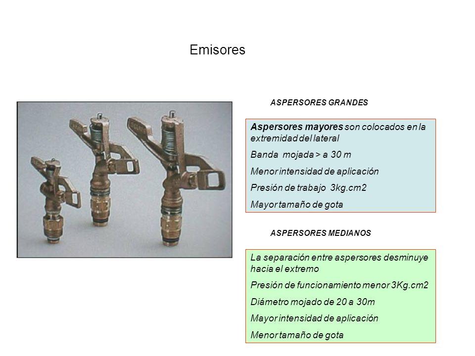Emisores Aspersores mayores son colocados en la extremidad del lateral Banda mojada > a 30 m Menor intensidad de aplicación Presión de trabajo 3kg.cm2
